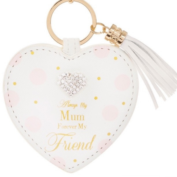 "Always My Mum Forever My Friend Keyring,mother's day gifts, mother's day 2019, always my Mum gifts, Mother's day gifts Ireland, A white heart shaped keyring with pink and gold dots and a diamonte heart embellishment gem at the top. On a gold keyring and has a tassle hanging to the side. It reads ""Always my mum forever my friend"" in gold writing."