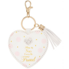 """Always My Nan Forever My Friend Keyring,mother's day gifts, mother's day 2019, always my Mum gifts, Mother's day gifts Ireland, A white heart shaped keyring with pink and gold dots and a diamonte heart embellishment gem at the top. On a gold keyring and has a tassle hanging to the side. It reads """"Always my nan forever my friend"""" in gold writing."""