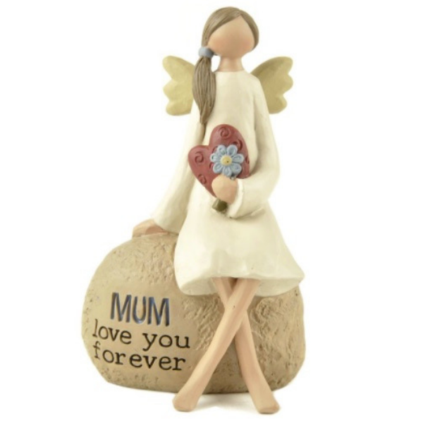 "Angel Mum Ornament,white background, resin angel holding a red heart and blue flower, it reads ""MUM love you forever"", mother's day gifts Ireland"